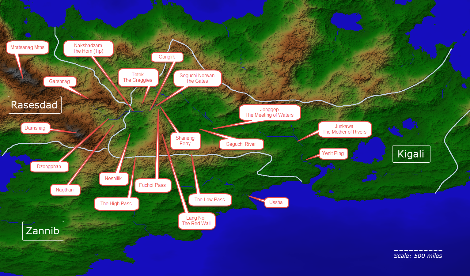 Important Locations in the Southern Continent